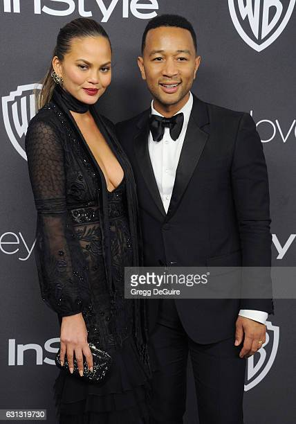 Chrissy Teigen and John Legend arrive at the 18th Annual PostGolden Globes Party hosted by Warner Bros Pictures and InStyle at The Beverly Hilton...