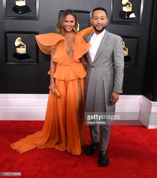 Chrissy Teigen and John Legend arrives at the 62nd Annual GRAMMY Awards at Staples Center on January 26, 2020 in Los Angeles, California.