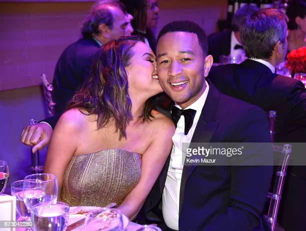 Chrissy Teigen and John Legend attend 2017 Time 100 Gala at Jazz at Lincoln Center on April 25 2017 in New York City