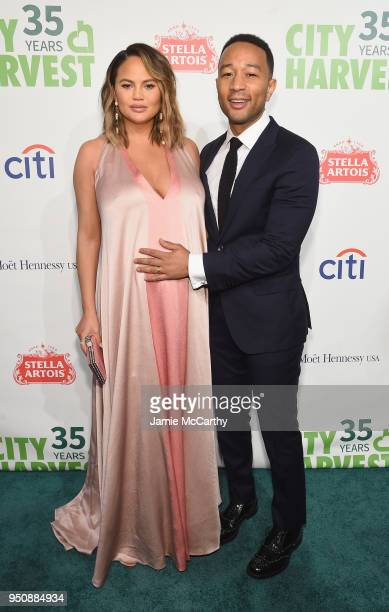 Chrissy Teigen and John Legend attend City Harvest's 35th Anniversary Gala at Cipriani 42nd Street on April 24 2018 in New York City