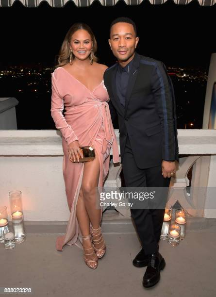 Chrissy Teigen and John Legend attend GQ and Dior Homme private dinner in celebration of The 2017 GQ Men Of The Year Party at Chateau Marmont on...