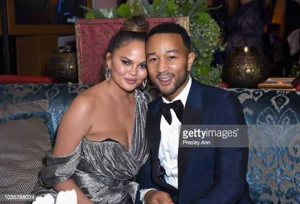 Chrissy Teigen and John Legend attend Hulu's 2018 Emmy Party at Nomad Hotel Los Angeles on September 17 2018 in Los Angeles California