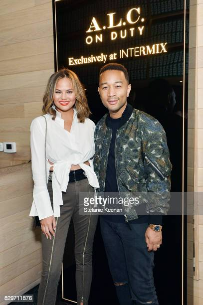 Chrissy Teigen and John Legend attend INTERMIX x ALC 'On Duty' Launch Dinner with Chrissy Teigen at Jon and Vinny's on August 10 2017 in Los Angeles...