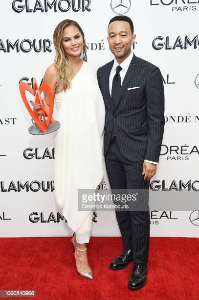 Chrissy Teigen and John Legend attend the 2018 Glamour Women Of The Year Awards Women Rise on November 12 2018 in New York City