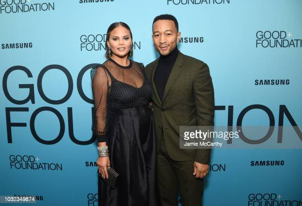 Chrissy Teigen and John Legend attend the 2018 GOOD Foundation's Evening of Comedy Music Benefit presented by Samsung Electronics America at Carnegie...