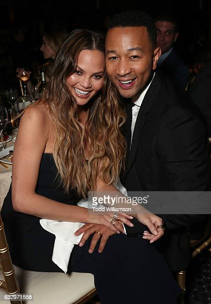 Chrissy Teigen and John Legend attend the 28th Annual Producers Guild Awards at The Beverly Hilton Hotel on January 28 2017 in Beverly Hills...