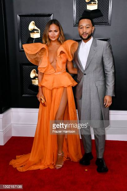 Chrissy Teigen and John Legend attend the 62nd Annual GRAMMY Awards at STAPLES Center on January 26 2020 in Los Angeles California