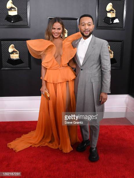 Chrissy Teigen and John Legend attend the 62nd Annual GRAMMY Awards at Staples Center on January 26, 2020 in Los Angeles, California.