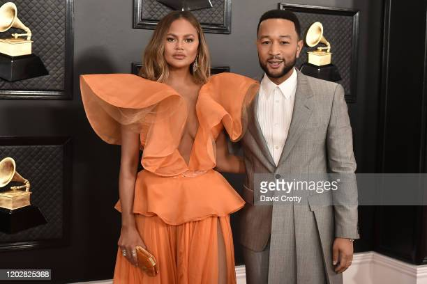 Chrissy Teigen and John Legend attend the 62nd Annual Grammy Awards at Staples Center on January 26, 2020 in Los Angeles, CA.