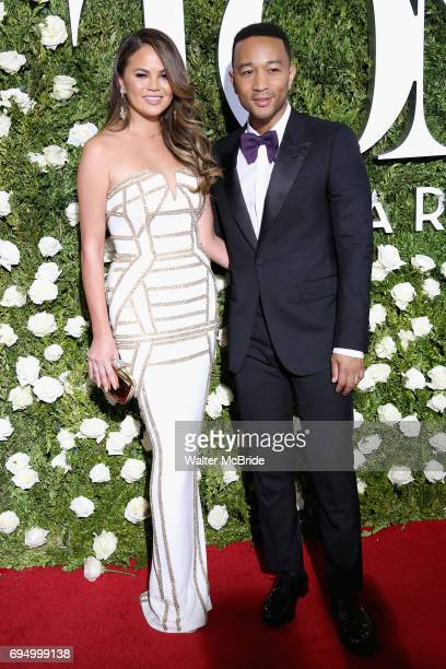 Chrissy Teigen and John Legend attend the 71st Annual Tony Awards at Radio City Music Hall on June 11 2017 in New York City