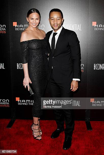 Chrissy Teigen and John Legend attend the 9th Hamilton Behind The Camera Awards at Exchange LA on November 6 2016 in Los Angeles California