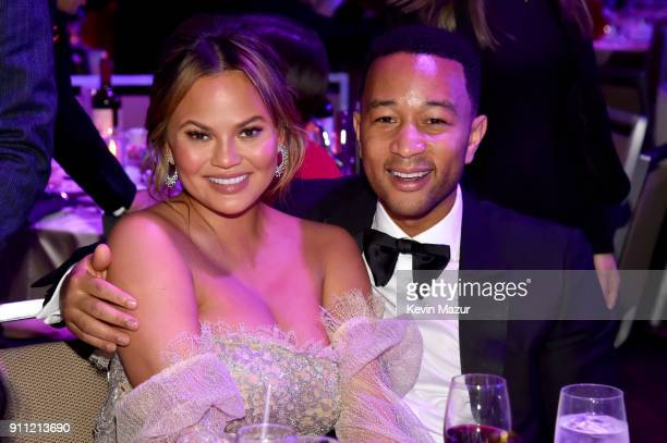 Chrissy Teigen and John Legend attend the Clive Davis and Recording Academy PreGRAMMY Gala and GRAMMY Salute to Industry Icons Honoring JayZ on...