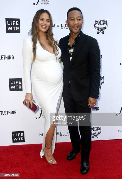 Chrissy Teigen and John Legend attend The Daily Front Row's 4th Annual Fashion Los Angeles Awards at Beverly Hills Hotel on April 8 2018 in Beverly...