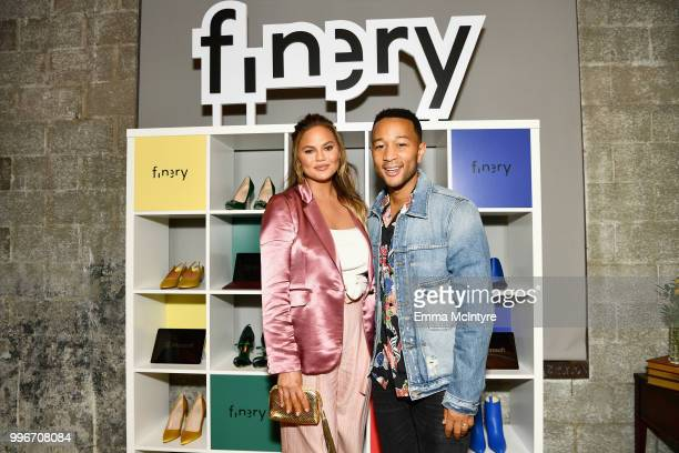 Chrissy Teigen and John Legend attend the Finery App launch party hosted by Brooklyn Decker at Microsoft Lounge on July 11 2018 in Culver City...