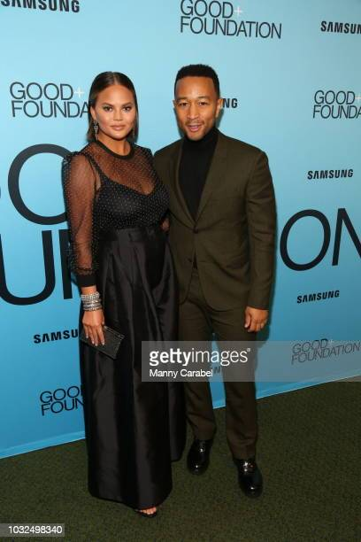 Chrissy Teigen and John Legend attend the GOOD Foundation An Evening of Comedy Music Benefit at Carnegie Hall on September 12 2018 in New York City
