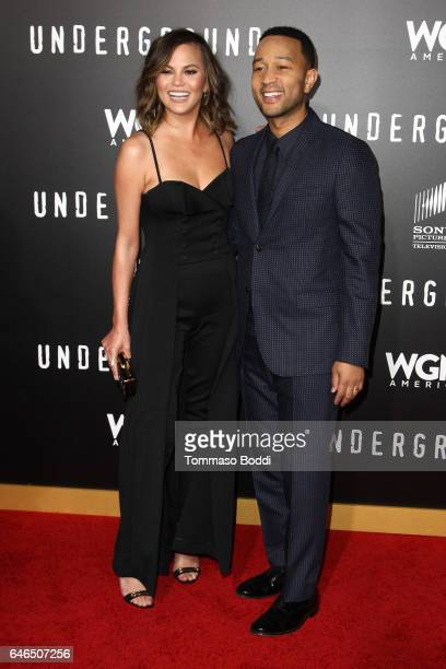Chrissy Teigen and John Legend attend the premiere of WGN America's 'Underground' Season 2 held at the Westwood Village on February 28 2017 in Los...