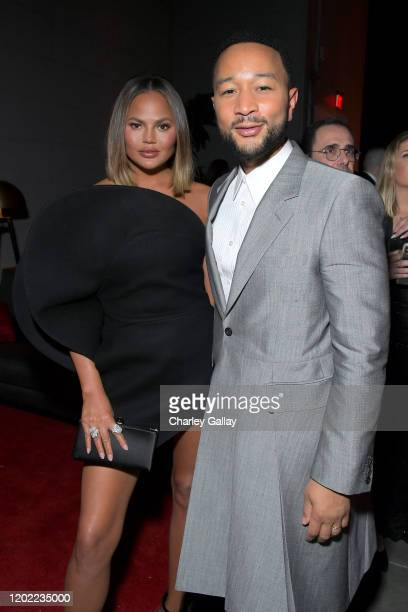 Chrissy Teigen and John Legend attend the Sony Music Entertainment 2020 PostGrammy Reception at NeueHouse Hollywood on January 26 2020 in Los Angeles...