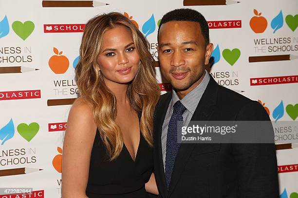 Chrissy Teigen and John Legend attend the Wellness In The Schools 10th Anniversary Gala at Riverpark on May 5, 2015 in New York City.