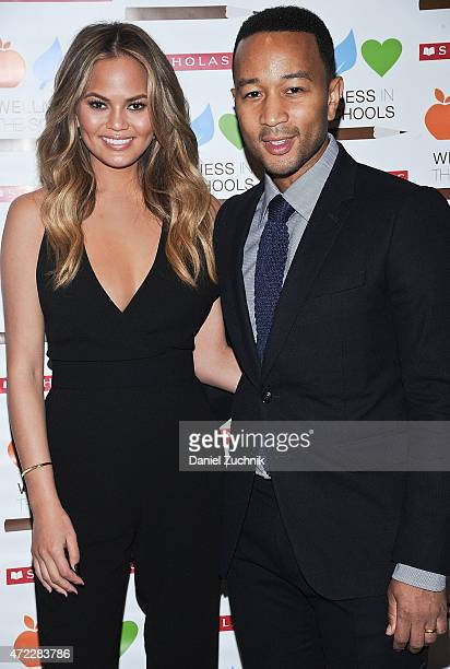 Chrissy Teigen and John Legend attend the Wellness In The Schools 10th Anniversary Gala at Riverpark on May 5 2015 in New York City