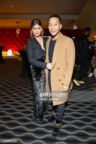 Chrissy Teigen and John Legend attend Universal US First Screening Los Angeles at Pacific Design Center on March 08 2019 in West Hollywood California