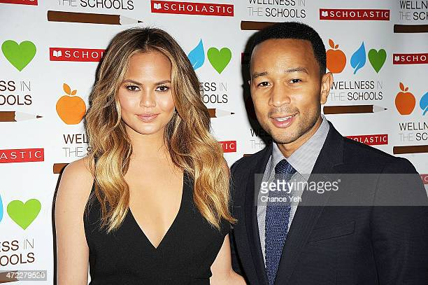 Chrissy Teigen and John Legend attend Wellness In The Schools 10th Anniversary Gala at Riverpark on May 5 2015 in New York City