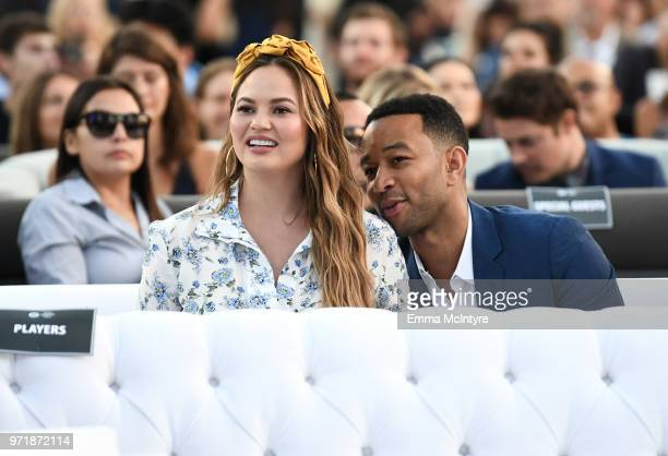 Chrissy Teigen and John Legend attends the Fourth Annual Los Angeles Dodgers Foundation Blue Diamond Gala at Dodger Stadium on June 11 2018 in Los...