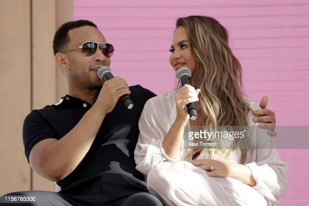 Chrissy Teigen and John Legend go behind the Tweets at #TwitterBeach at Cannes Lions on June 18, 2019 in Cannes, France.