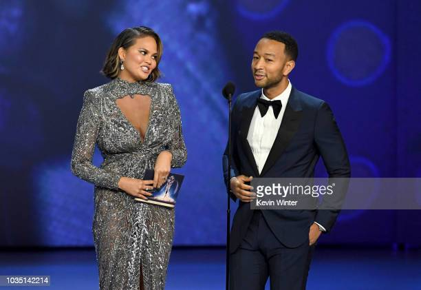 Chrissy Teigen and John Legend speak onstage during the 70th Emmy Awards at Microsoft Theater on September 17 2018 in Los Angeles California