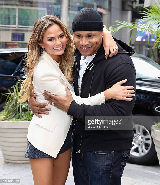 Chrissy Teigen and LL Cool J attend Viacom and Spike TV Ring The NASDAQ Opening Bell at NASDAQ MarketSite on July 13 2015 in New York City