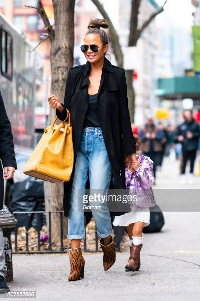 Chrissy Teigen and Luna Stephens are seen in SoHo on February 20 2020 in New York City