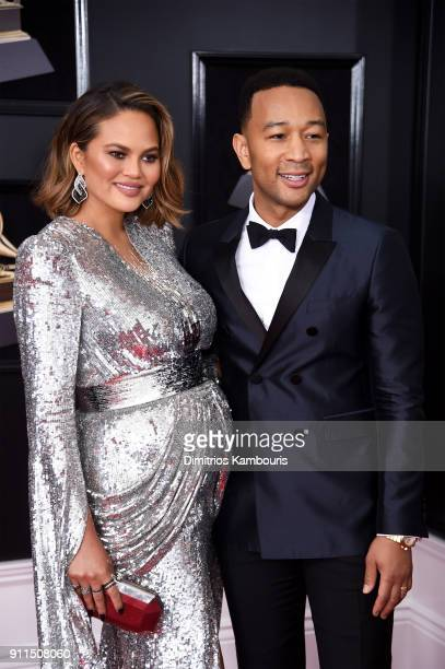 Chrissy Teigen and recording artist John Legend attend the 60th Annual GRAMMY Awards at Madison Square Garden on January 28 2018 in New York City