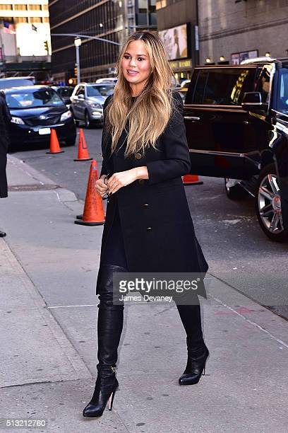 Chrissy Teigen arrives at The Late Show With Stephen Colbert at the Ed Sullivan Theater on March 1 2016 in New York City
