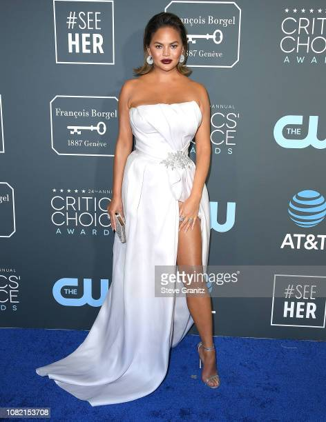Chrissy Teigen arrives at the The 24th Annual Critics' Choice Awards attends The 24th Annual Critics' Choice Awards at Barker Hangar on January 13,...