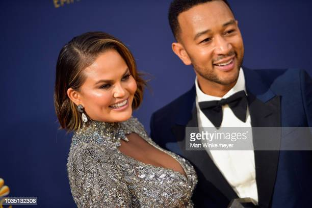 Chrissy Teigen attend John Legend the 70th Emmy Awards at Microsoft Theater on September 17 2018 in Los Angeles California