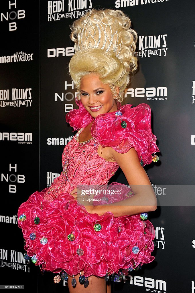 Chrissy Teigen attends Heidi Klum's 12th annual Halloween party at the PH-D Rooftop Lounge at Dream Downtown on October 31, 2011 in New York City.