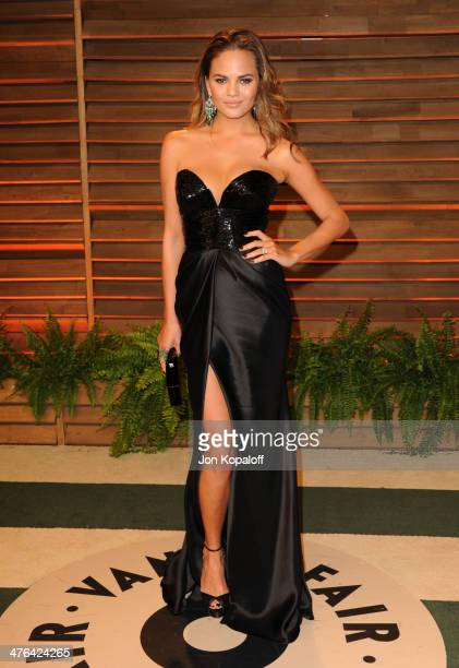 Chrissy Teigen attends the 2014 Vanity Fair Oscar Party hosted by Graydon Carter on March 2 2014 in West Hollywood California