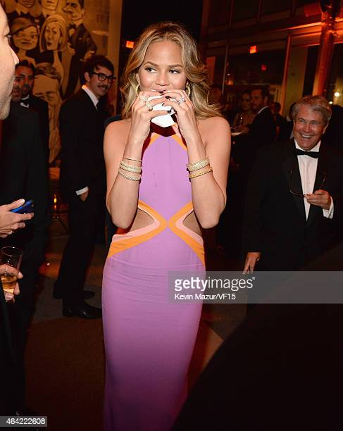 Chrissy Teigen attends the 2015 Vanity Fair Oscar Party hosted by Graydon Carter at the Wallis Annenberg Center for the Performing Arts on February...