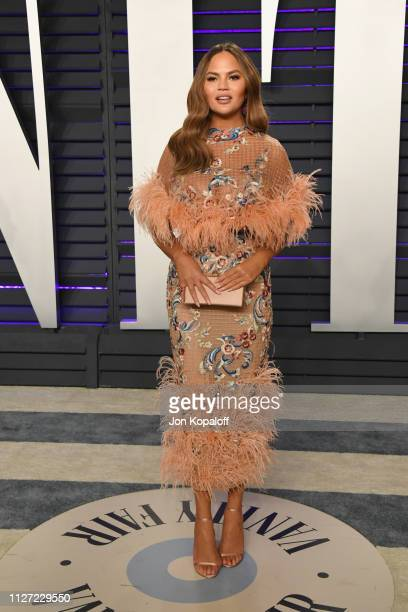 Chrissy Teigen attends the 2019 Vanity Fair Oscar Party hosted by Radhika Jones at Wallis Annenberg Center for the Performing Arts on February 24...