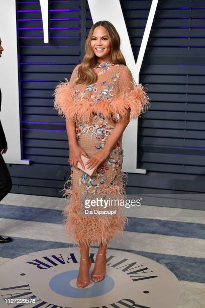 Chrissy Teigen attends the 2019 Vanity Fair Oscar Party hosted by Radhika Jones at Wallis Annenberg Center for the Performing Arts on February 24,...