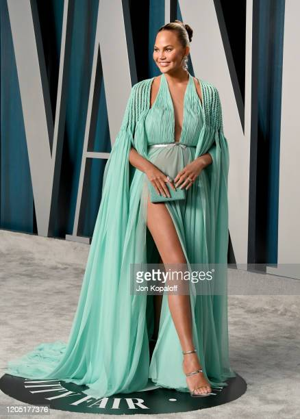 Chrissy Teigen attends the 2020 Vanity Fair Oscar Party hosted by Radhika Jones at Wallis Annenberg Center for the Performing Arts on February 09,...