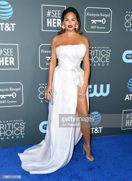 Chrissy Teigen attends the 24th annual Critics' Choice Awards at Barker Hangar on January 13 2019 in Santa Monica California