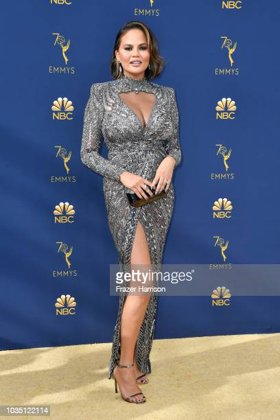 Chrissy Teigen attends the 70th Emmy Awards at Microsoft Theater on September 17, 2018 in Los Angeles, California.