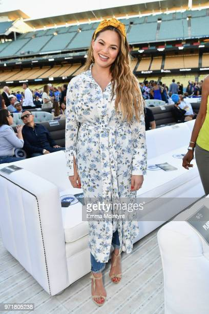 Chrissy Teigen attends the Fourth Annual Los Angeles Dodgers Foundation Blue Diamond Gala at Dodger Stadium on June 11 2018 in Los Angeles California