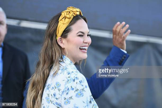 Chrissy Teigen attends the Fourth Annual Los Angeles Dodgers Foundation Blue Diamond Gala at Dodger Stadium on June 11, 2018 in Los Angeles,...