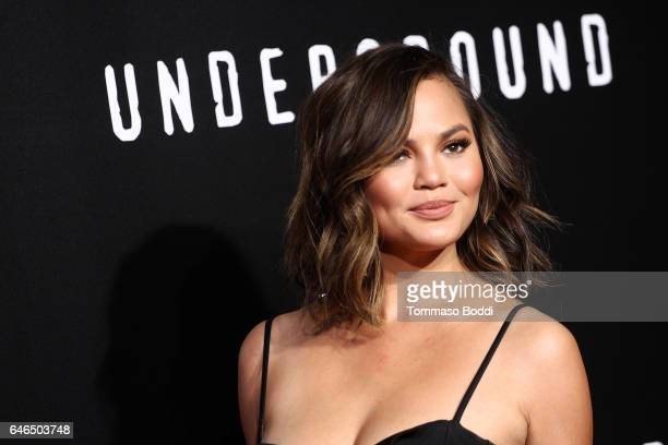 Chrissy Teigen attends the premiere of WGN America's 'Underground' Season 2 held at the Westwood Village on February 28 2017 in Los Angeles California