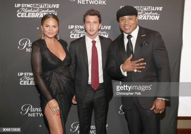 Chrissy Teigen Brandon Korff and LL Cool J attend Lip Sync Battle Live A Michael Jackson Celebration at Dolby Theatre on January 18 2018 in Hollywood...