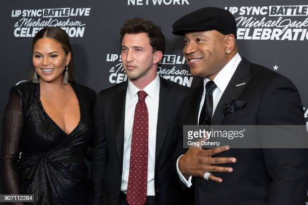 Chrissy Teigen Brandon Korff and LL Cool J attend the Lip Sync Battle LIVE A Michael Jackson Celebration at Dolby Theatre on January 18 2018 in...