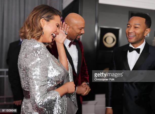 Chrissy Teigen Common and John Legend attend the 60th Annual GRAMMY Awards at Madison Square Garden on January 28 2018 in New York City