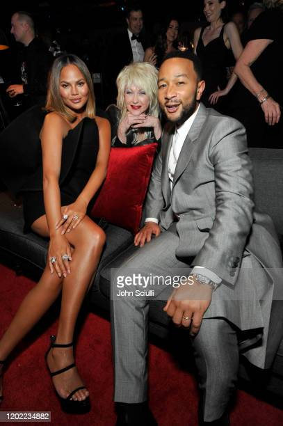 Chrissy Teigen Cyndi Lauper and John Legend attend the Sony Music Entertainment 2020 PostGrammy Reception at NeueHouse Hollywood on January 26 2020...