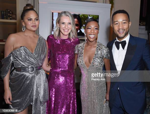 Chrissy Teigen Ever Carradine Samira Wiley and John Legend attend Hulu's 2018 Emmy Party at Nomad Hotel Los Angeles on September 17 2018 in Los...